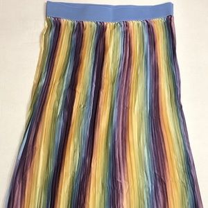 New Lularoe Jill Skirt Rainbow Pastel Pleated Sz L
